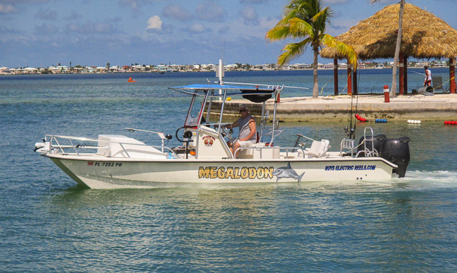 Roy's new 26' Twin Vee boat on it's first trip out at Cudjoe Key, Florida.